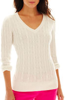 JCPenney JCP jcp Wool-Blend Cable Knit V-Neck Sweater - Talls