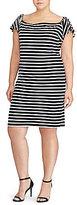 Lauren Ralph Lauren Plus Striped Off-the-Shoulder-Dress
