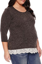 Asstd National Brand 3/4 Sleeve Scoop Neck Pullover Sweater-Maternity