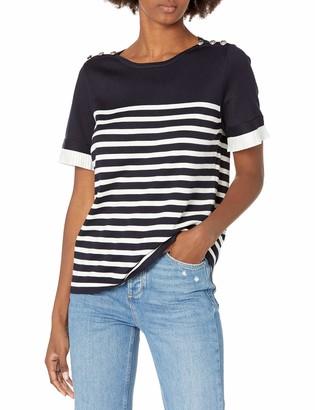 Karl Lagerfeld Paris Women's Button Stripe Sweater