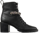 Jimmy Choo CRUZ 65 Black Grained Leather Lace-Up Combat Boots with Crystal
