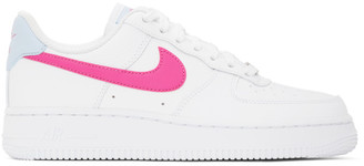 Nike White and Pink Air Force 1 07 Sneakers
