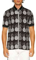 Dolce & Gabbana Pineapple Full-Zip Polo Shirt, Black/White