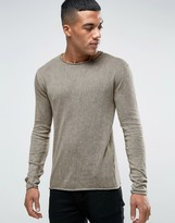 Solid Sweater In Oil Wash With Ram Hem And Neckline