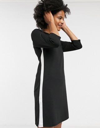 Only long sleeve sweater dress with white side stripe in black