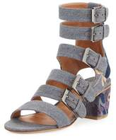 Laurence Dacade Nora Embroidered Buckle-Strap Sandal, Stone/Blue