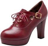 ENMAYER Women's Casual High Heels Platform Lace up Boots 10B(M) US