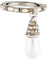 Oscar de la Renta Pearl Pendant Crystal Baguette Ring