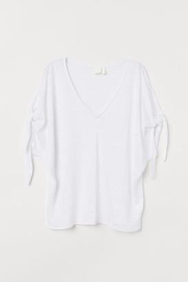 H&M Tie-sleeve Linen Top - White