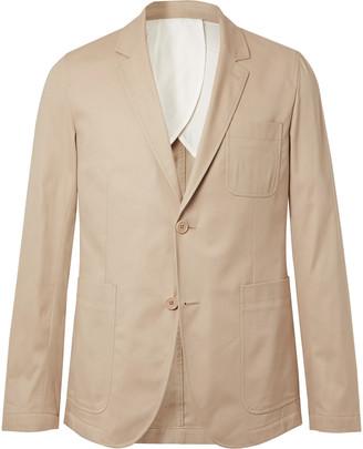 Ami Beige Slim-Fit Cotton-Twill Suit Jacket