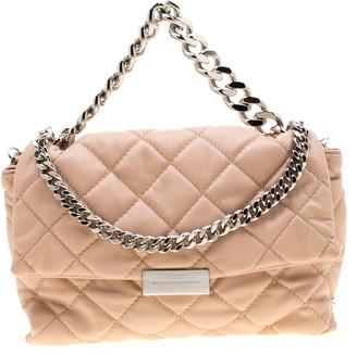 Stella McCartney Beige Quilted Faux Leather Medium Beckett Chain Shoulder Bag