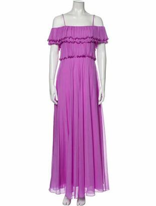 Halston Square Neckline Long Dress Purple