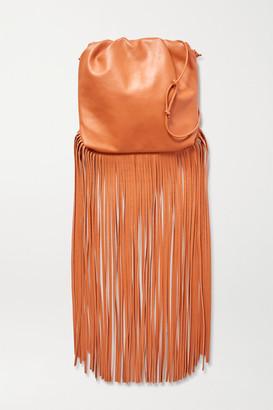 Bottega Veneta Fringe Gathered Leather Shoulder Bag - Light brown