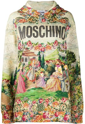 Moschino Tapestry-Print Hoodie