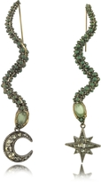 Roberto Cavalli Snake Metal and Green Stone Earrings
