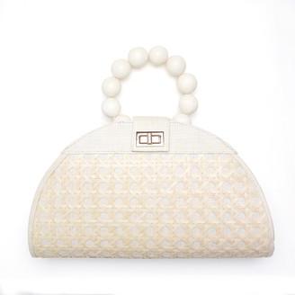 Soli & Sun The Isabella White & Cream Rattan Woven Handbag