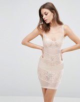 Wolfwhistle Wolf & Whistle Lace And Mesh Dress Blush