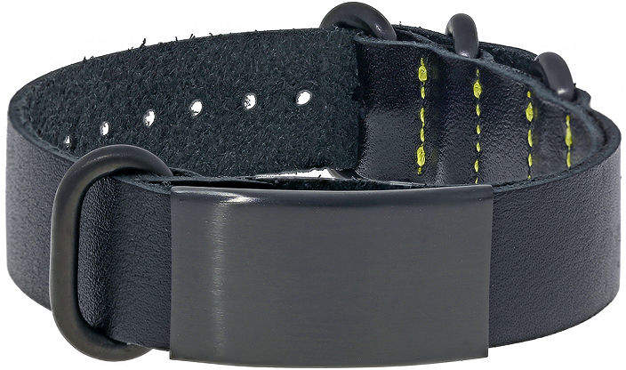 JCPenney FINE JEWELRY Mens Leather & Stainless Steel & Black IP ID Bracelet