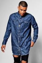 Boohoo Longline Denim Shirt With Raw Hem Curved