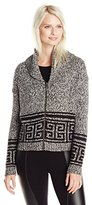 Kensie Women's Fuzzy Mixed-Media Cardigan Sweater