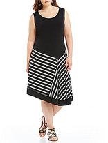 Allison Daley Plus Sleeveless Asymmetrical Flared Dress