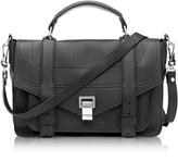 Proenza Schouler PS1+ Medium Black Grainy Leather Flap Handbag