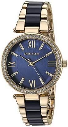 Anne Klein Women's AK/3350NVGB Swarovski Crystal Accented Gold-Tone and Navy Blue Resin Bracelet Watch