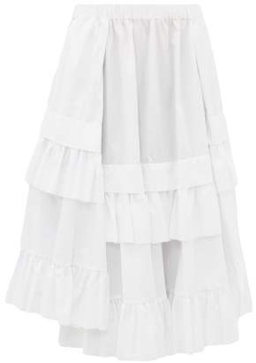 Comme des Garcons Ruffle Tiered Hem Cotton Skirt - Womens - White