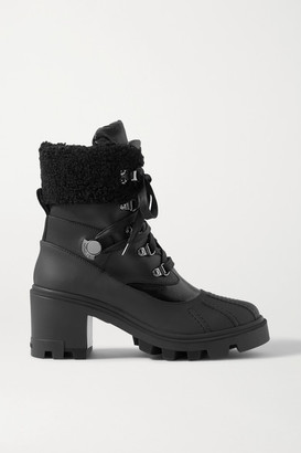 Moncler Corinne Leather And Faux Shearling-trimmed Rubber Ankle Boots - Black