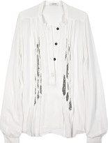 Silk-chiffon chain-mail blouse