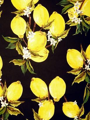 Viscount Textiles Lemon Print Fabric, Black