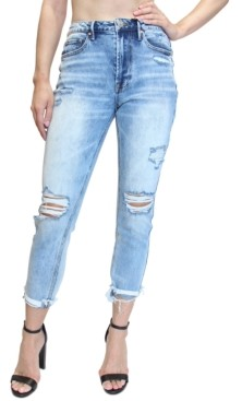 Almost Famous Juniors' Destructed High-Rise Mom Jeans