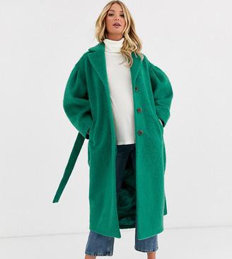 Asos DESIGN Maternity power sleeve coat in green