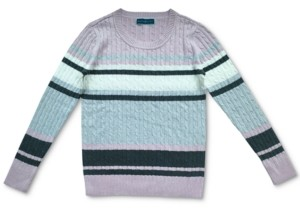 Karen Scott Petite Rose Cotton Cable-Knit Sweater, Created for Macy's