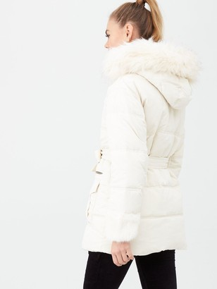 River Island Faux Fur Cuff Belted Padded Jacket - Cream