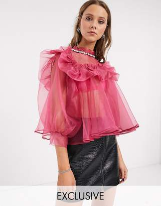 Sister Jane oversized blouse with embellished collar and puff sleeves in organza-Pink