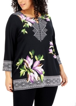 JM Collection Plus Size Printed Embellished 3/4-Sleeve Top, Created for Macy's