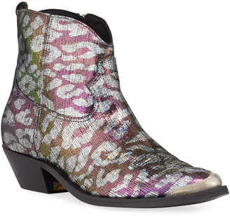 Golden Goose Young Sparkle Snake-Print Booties