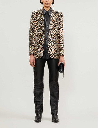 The Kooples Leopard-print crepe single-breasted blazer