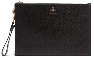 Gucci Bee-plaque Leather Pouch - Black