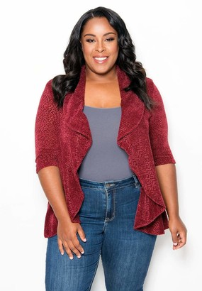 Sealed With A Kiss Sealed w/ A Kiss Claire Cardigan Sweater in Burgundy Size 5X