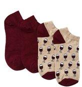 Charlotte Russe Wine Ankle Socks - 2 Pack