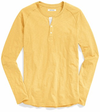 Goodthreads Amazon Brand mens Long-sleeve Slub Henley Long Sleeve Henley Shirt - black -