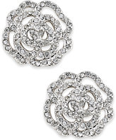 Kate Spade Silver-Tone Pavé Rose Stud Earrings