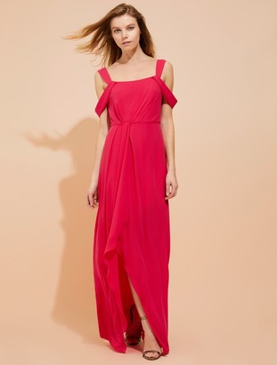 Halston Cold shoulder draped silky georgette gown