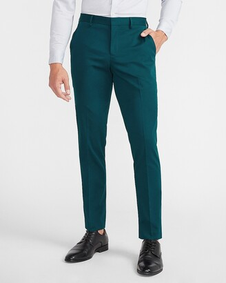 Express Slim Solid Teal Cotton Sateen Suit Pants