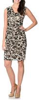 London Times T0737M Floral Contrast Cowl Dress