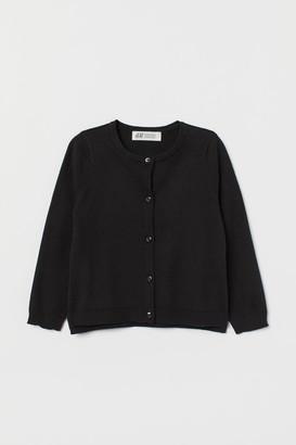 H&M Fine-knit Cotton Cardigan - Black