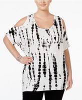 ING Plus Size Cold-Shoulder Tie-Dyed Top