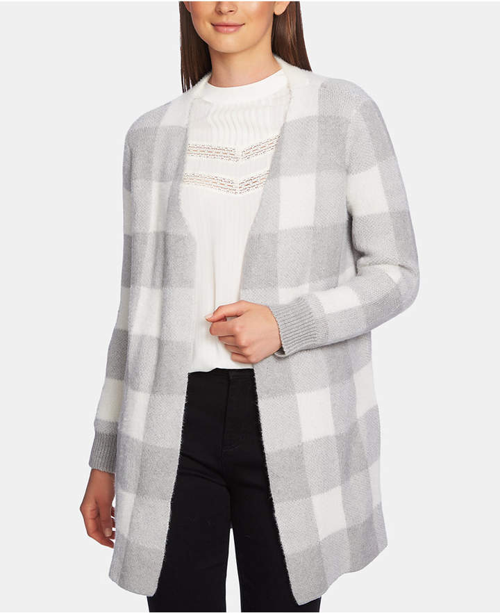 1.state Checked Jacquard Open-Front Cardigan